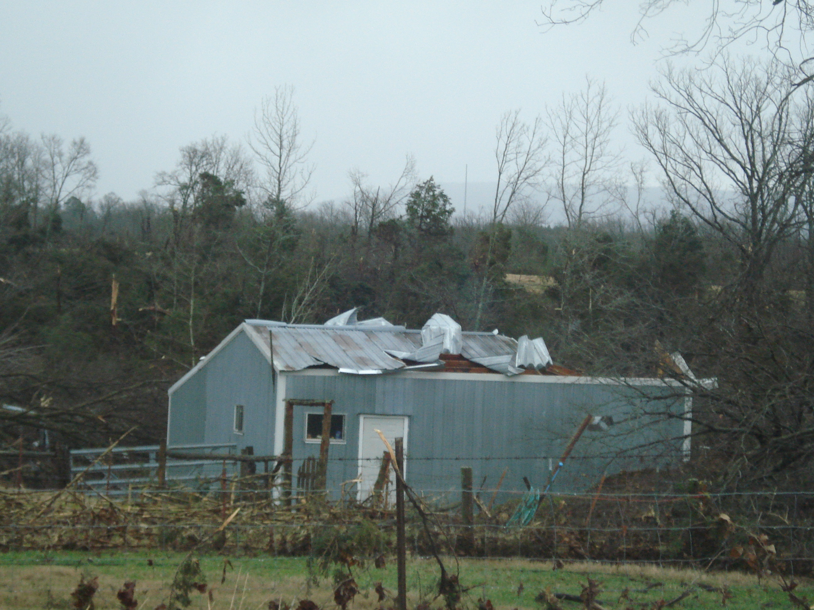 Roof blown off by tornado